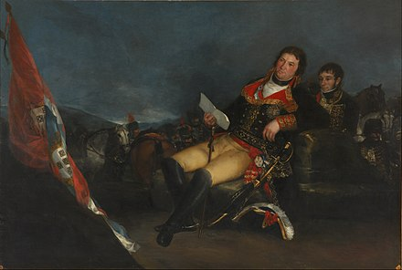 Goya's Manuel Godoy, Duke of Alcudia, Prince of the Peace, 1801. Godoy was Prime Minister of Spain during the 1808 Napoleonic invasion of Spain. Francisco de Goya - Godoy como general - Google Art Project.jpg