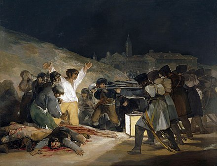 The Third of May 1808 by Francisco Goya, showing Spanish resisters being executed by French troops Francisco de Goya y Lucientes - Los fusilamientos del tres de mayo - 1814.jpg