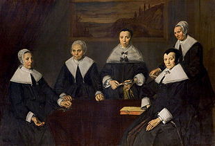 Regentesses of the Old Men's Almshouse in Haarlem, Frans Hals, 1664 Frans Hals - De regentessen van het oudemannenhuis.jpg