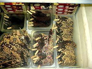 Freezer of frozen bananas