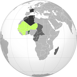 Dark green: French Dahomey Lime: Rest of French West Africa Dark gray: Other French possessions Darkest gray: French Republic
