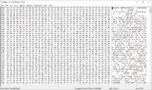 Deb (file format) - Image: Frhed hex editor displaying deb package