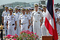 From right, U.S. Navy Capt. Paul Schlise, the commander of Destroyer Squadron 7 and Rear Adm. William McQuilkin, the commander of U.S. Naval Forces Korea, stand alongside Royal Thai Navy officers at the closing 130612-N-AX577-031.jpg