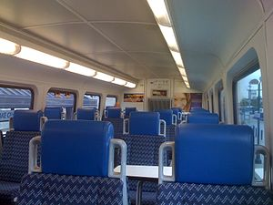 Interior of the upper level of a Bombardier bi...