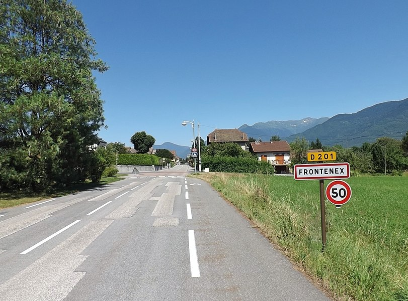 Welcoming sign to the French commune of Frontenex between Chambéry and Albertville in Savoie.