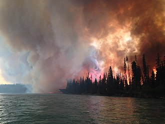 The Funny River Fire in Alaska burned 193,597 acres (78,346 ha), mostly Black spruce taiga Funny River Fire Alaska.jpg