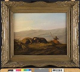 Rustende herder in berglandschap