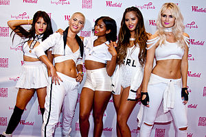 "Robin Antin - G.R.L. at Westfield Old Orchard Mall in Skokie, Illinois promoting their debut single ""Vacation"" on September 28, 2013. Left to right: Natasha Slayton, Paula van Oppen, Simone Battle, Emmalyn Estrada, Lauren Bennett."