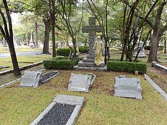 James A. Baker (born 1857) - The family gravesite: Alice Baker Jones (foreground), Alice Graham Baker (left), Graham Baker (center), and Captain James A. Baker (right).