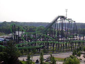 Flying roller coaster - A former Vekoma flying roller coaster, X-Flight formerly at Geauga Lake.