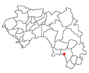 Location of Macenta Prefecture and seat in Guinea.