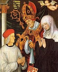 Gabriel von Eyb, Bischof von Eichstätt, mit den hll. Willibald und Walburga, Tafelgemälde von Lukas Cranach d. Ä.jpg