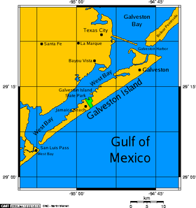 Carte de l'île de Galveston