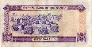 Senegambian stone circles - The Wassu stone circles on the Gambia 50 dalasi banknote.
