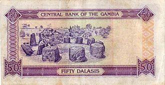 Senegambian stone circles - The Wassu stone circles on the Gambia 50 dalasi banknote.