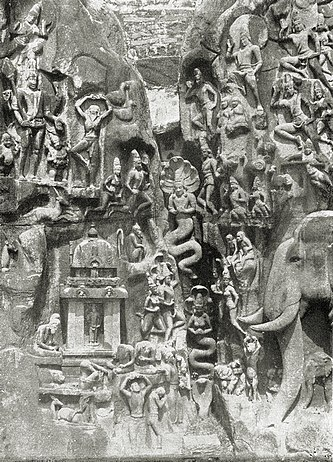 """Relief of the """"Descent of the Ganga"""" in Mahabalipuram (also Mamallapuram), India; detail of the central part, the complete relief is 9 m high and 27 m wide."""