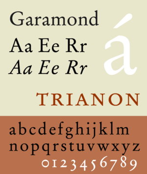 Vox-ATypI classification - Garamond, a Garalde typeface