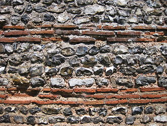Burgh Castle Roman Site - A close-up of the flint and brick stonework