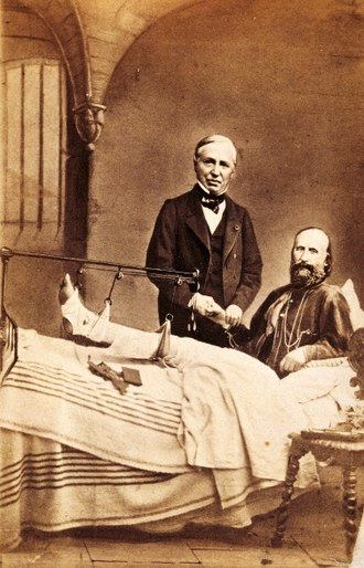 Auguste Nélaton - Nélaton with Giuseppe Garibaldi in a hospital