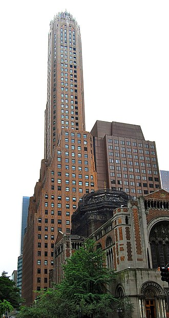 General Electric Building - with St. Bartholomew's Church in the foreground (2010)