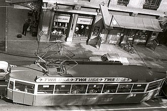 Trams in Geneva - The same kind of car, No. 708, as seen from above, 1973