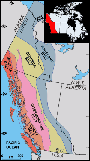 Intermontane Belt - Geologic belts of far-western Canada and Southeast Alaska, including the Intermontane Belt (pink)