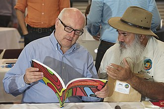 Pat Dodson - Dodson with Attorney-General George Brandis in 2015