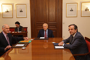 George Papandreou - George Papandreou and Antonis Samaras with Karolos Papoulias, the President of Greece, on 6 November 2011 discussing the formation of a caretaker government.