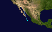 Map plotting the track and the intensity of the storm, according to the Saffir-Simpson scale Georgette 2010 track.png