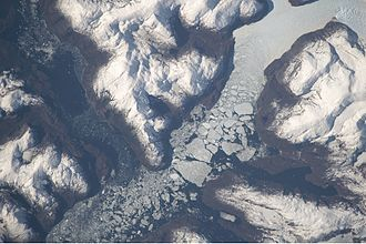 Southern Patagonian Ice Field - The merged outlet of Penguin Glacier and HPS 19.