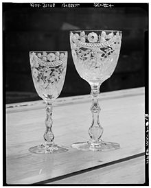 photo of goblet with fancy designs engraved on it.