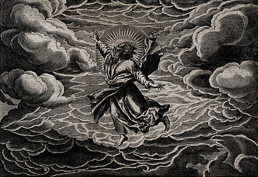 God, suspended in the clouds, creates light. Line engraving Wellcome V0034177