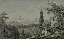 Blick auf den Petersdom vom Arco Oscuro nahe der Villa Giulia aus, Aquarell von Johann Wolfgang von Goethe, Sommer 1787 (Quelle: Wikimedia)