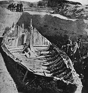 Gokstad Viking ship excavation. Photographed in ~1880