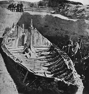 Gokstad ship - Gokstad Viking ship excavation. Photographed in 1880