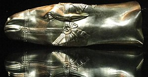 Reza Abbasi Museum - A golden rhyton of horse's head, Persian Empire in Sassanid era, 6-7th century AD, located in Reza Abbasi Museum