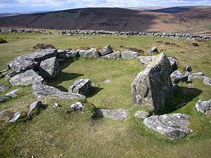 A hut circle at Grimspound (a late Bronze Age ...