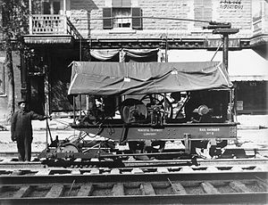 Railgrinder - A railgrinder and its operator in Montreal, 1912