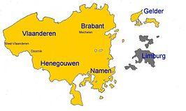 grondgebied van de Verenigde Nederlandse Staten (1790). In grijs de gebieden van Limburg en Overmaas, die zich later aansloten bij de statenbond