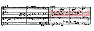 Große Fuge - Second variation of the first fugue. The dactylic countersubject is highlighted.