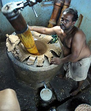 Sesame oil - Oil pressing at a Tamil village, India