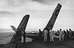 Grumman F6F Hellcat crash aboard USS Hancock (CV-19), circa in 1944.jpg