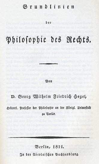 Elements of the Philosophy of Right - Title page of the 1821 original work.