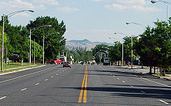 Looking south down Gunnison's Main Street (US-89), June 2005