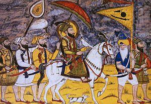 Nishan Sahib - Guru Gobind Singh with followers carrying Basanti flag with emblems.