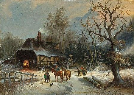 Gustav Adolf Friedrich - Wintertag vor einsamer Schmiede
