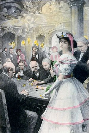 "Roulette - ""Gwendolen at the roulette table"" – 1910 illustration to George Eliot's ""Daniel Deronda""."