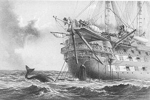 HMS Agamemnon (1852) - Drawing showing a whale crossing the cable line, as the ship lays the trans-atlantic cable.
