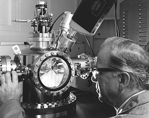 Auger electron spectroscopy - A Hanford scientist uses an Auger electron spectrometer to determine the elemental composition of surfaces.
