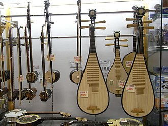 String instrument - Numerous stringed instruments of Chinese make on display in a shop.